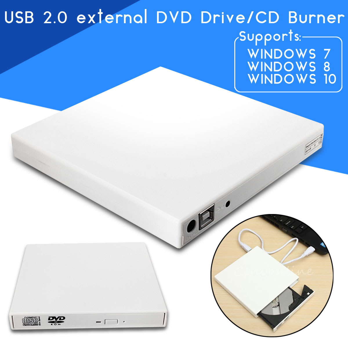 USB 2 0 External Combo Optical Drive CD/DVD Player Burner for PC -  Shoppingsquare Australia