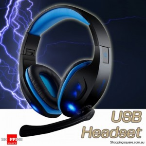 7.1 Virtual USB Gaming Headphone Headset with LED & Mic for Desktop Laptop Blue Colour