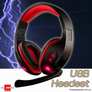 7.1 Virtual USB Gaming Headphone Headset with LED & Mic for Desktop Laptop Red Colour