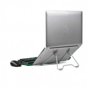 Metal Alloy Multifunctional Universal Folding Laptop Stand for Tablet PC Notebook with Adjustable Bracket Grey Colour