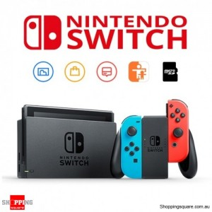 Nintendo Switch with Neon Blue and Neon Red Joy-Con Game Console