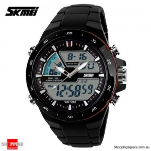 SKMEI AD1016 Men's Analog Digital Waterproof Multifunctional Sport Wrist Watch Black & Red Colour