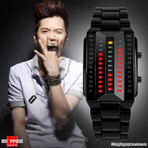 Men's Waterproof Digital Stainless Steel Band Watch Black Colour