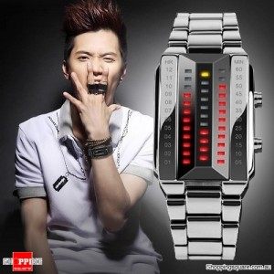 Men's Waterproof Digital Stainless Steel Band Watch Silver Colour