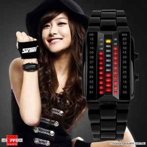 Women's Waterproof Digital Stainless Steel Band Watch Black Colour