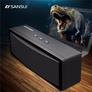 Bluetooth Wireless Portable Speaker with 1200mAh Battery Subwoofer Dual Unit Supported TF Card U Disk Black Colour