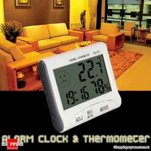 Indoor Digital LCD Hygrometer Thermometer Temperature Humidity Meter Alarm Clock