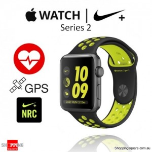 Apple Watch Nike  42mm Black/Volt Sport Band Fitness Sport Running Smart Watch
