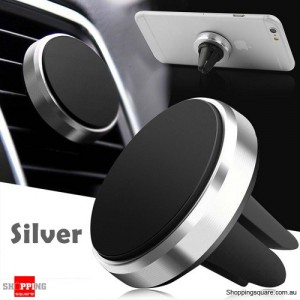 Universal Magnetic Air Vent Car Holder Mount Stand for iPhone Samsung LG Android Silver Colour
