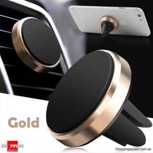 Universal Magnetic Air Vent Car Holder Mount Stand for iPhone Samsung LG Android Gold Colour
