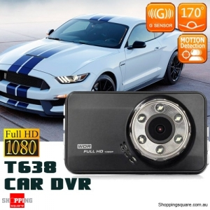 T638 HD 1080P Car DVR Camera Recorder 170 Degree Angle with Lens Black