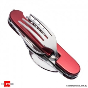 7-in-1 Folding Pocket Knives Cutlery Set Camping Eating Utensils