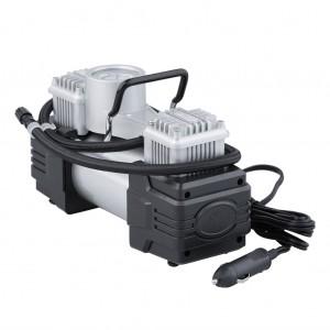 Car Dual Cylinder Portable Air Compressor with Flashlight - Silver Colour