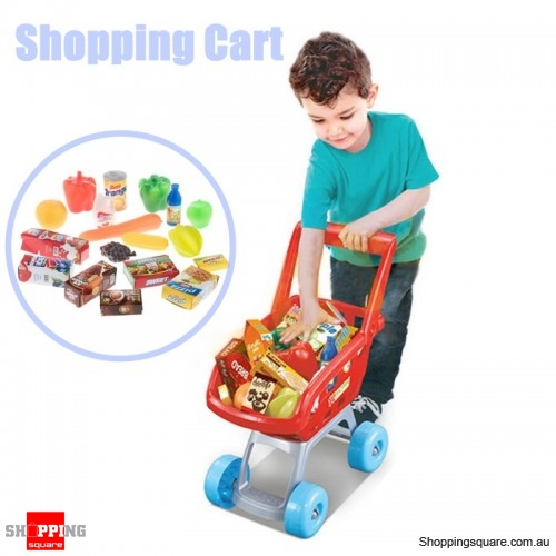 Kids Shopping Cart Trolley Pretend Toys Set  - Red