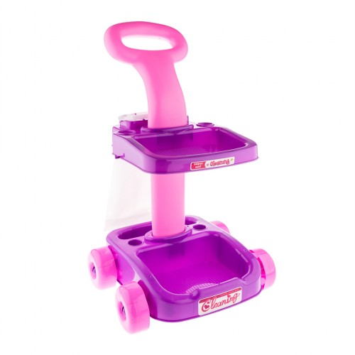 Kids Home Cleaning Trolley Pretend Toy Set Pink And Purple Educational