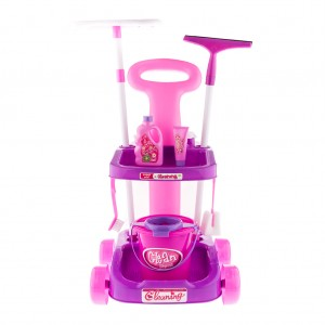 Kids Home Cleaning Trolley Pretend Toy Set Pink and Purple