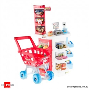 Fake Supermarket Cash Desk Food Pretend & Play Set for Kids