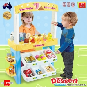 Fake Dummy Food Dessert Store Set Model with Cash Register Stall for Kids Children Pretend & Play