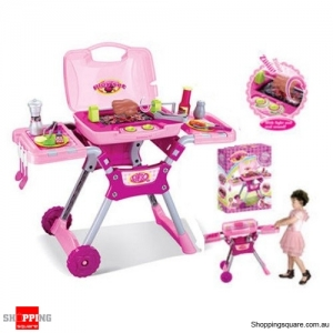 Fake Plastic Barbecue BBQ Chef Grill Set with Light and Sound Pretend & Play Kids Hot Pink Colour