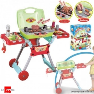 Fake Plastic Barbecue BBQ Chef Grill Set with Light and Sound Pretend & Play Kids Red Colour