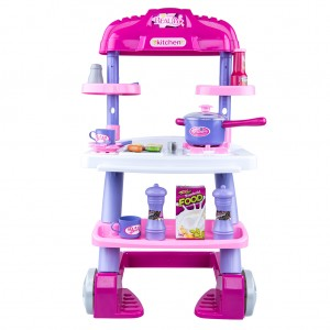 Fake Kitchen & Barbecue Plastic Kid's Children's Girls' Set Trolley Pretend & Play
