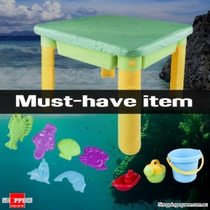 Beach Sand and Water Table with Fake Marine Animals Accessories Playset for Kids Green Colour
