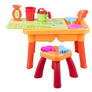 Kids Beach Sand and Water Table Toys with Lid and Stool
