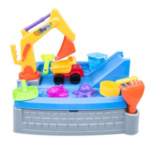 Kid's Construction Sand Box Play Set with Tractor Trucks Accessories