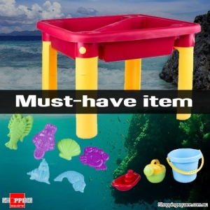 Beach Sand and Water Table with Fake Marine Animals Accessories Playset for Kids Red Colour