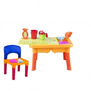 2-in-1 Sand and Water Table Beach Accessories with Lid & Chair set