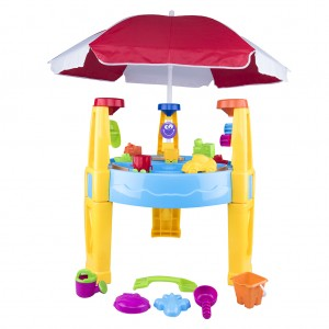 Outdoor Sand and Water Transport Table with Accessories Umbrella