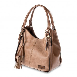 Double Top Zip Tassel Detailing PU Leather Hobo Bag - Dark Brown