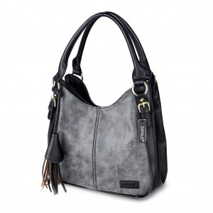 Double Top Zip Tassel Detailing PU Leather Hobo Bag - Dark Gray