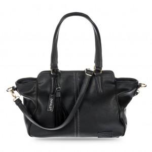 Women's Winged Tote Bag with Tassel - Black