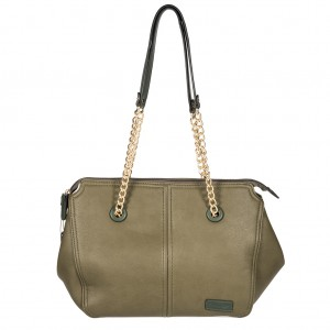 Women's Winged Chain Strap PU Leather Tote Shoulder Bag - Olive