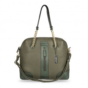 Chain Strap Dome Shaped PU Leather Tote Bag - Olive