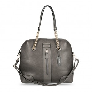 Chain Strap Dome Shaped PU Leather Tote Bag - Gray