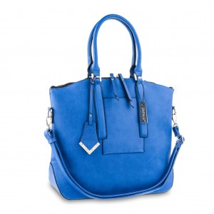 Women's Pebbled PU Leather Oversized Shoulder Tote - Blue