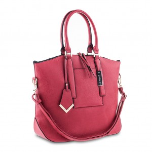 Women's Pebbled PU Leather Oversized Shoulder Tote - Warm Red