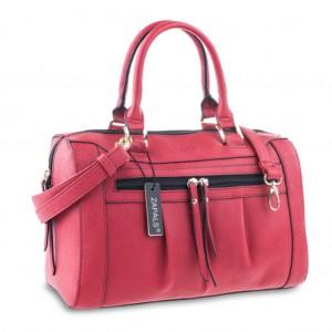 Women's Convertible Pebble Bowler Shaped Handbag - Red