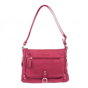 PU Leather Stud Detailing Shoulder/Cross Body hand Bag - Red