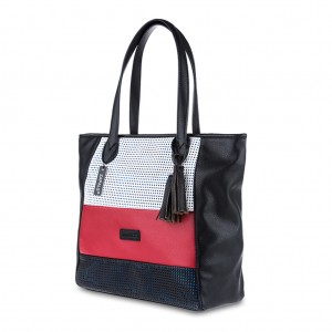 Tri-Color Tassel Detailing Large Tote Shoulder Bag - Black