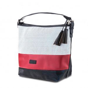 Women's Tri-Color Mesh Tassel Detailing Large Hobo Bag - White Red Black
