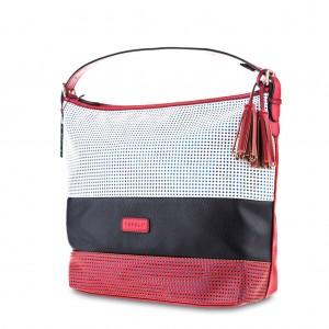 Women's Tri-Color Mesh Tassel Detailing Large Hobo Bag - White Black Red