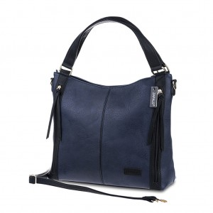 Women's PU Leather Hobo Bag with Zipper Detail - Navy