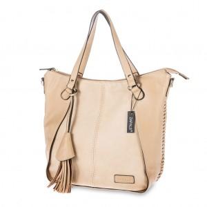 Women's Tassel-Accent PU Leather Tote Shoulder Bag - Cream
