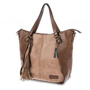 Women's Stylish Tassel-Accent PU Leather Tote Shoulder Bag - Dark Brown