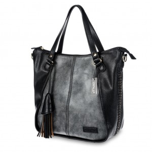 Women's Stylish Tassel-Accent PU Leather Tote Shoulder Bag - Dark Gray