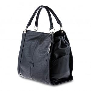 Women's Oversized Tote Shoulder Bag with Side Pockets - Black
