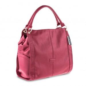 Women's Oversized Tote Shoulder Bag with Side Pockets - Red